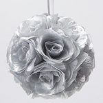 SILVER Silk pomander flower ball